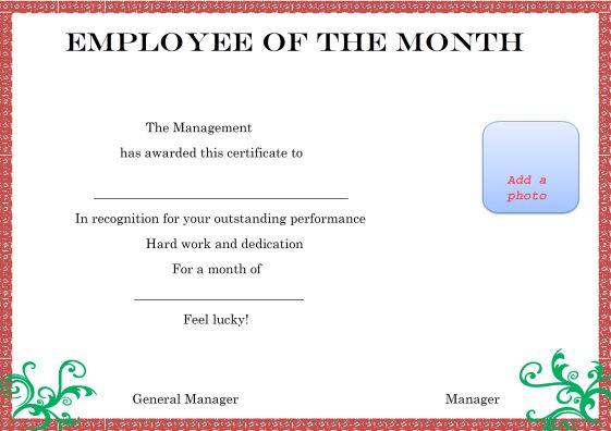Elegant and funny employee of the month certificate for Employee of the month certificate template with picture