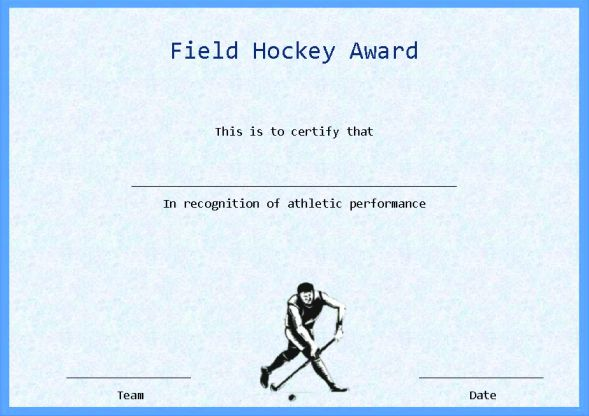 Field Hockey Certificate Template Word