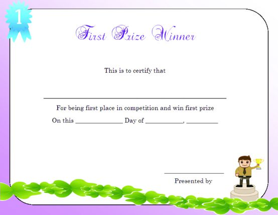 Winner certificate template 40 word templates for for First prize certificate template