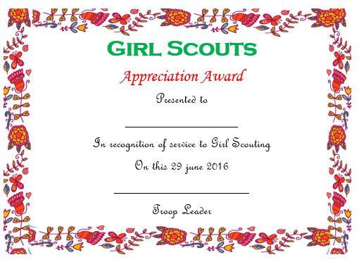 50 professional free certificate of appreciation for Girl scout award certificate templates