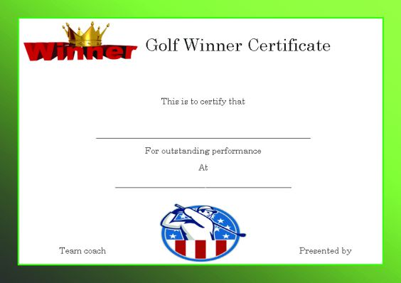 Winner certificate template 40 word templates for competitions golfwinnercertificatetemplate yelopaper Choice Image