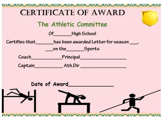 High School Athletic Certificate