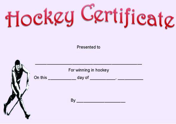 Hockey Certificate