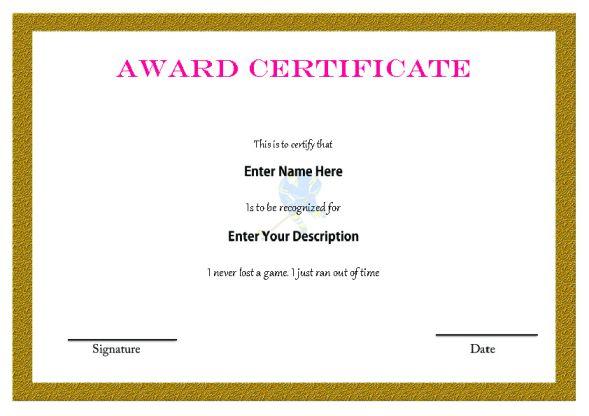 Hockey Certificate Award Template
