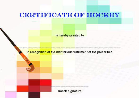 Hockey Certificate Template Word