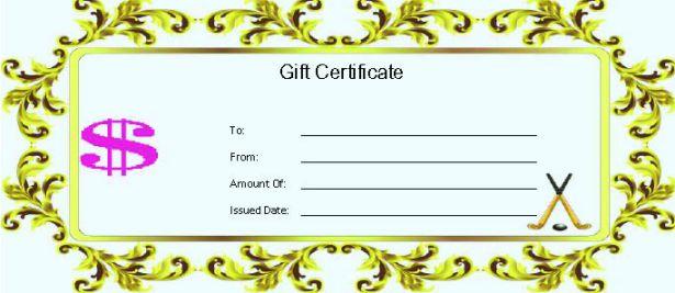 Hockey Gift Certificate Template