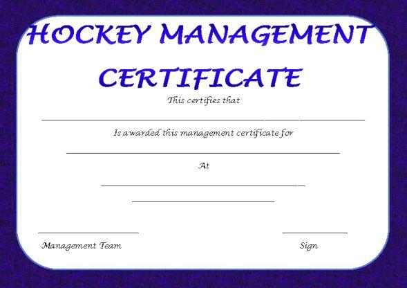 Hockey Management Certificate