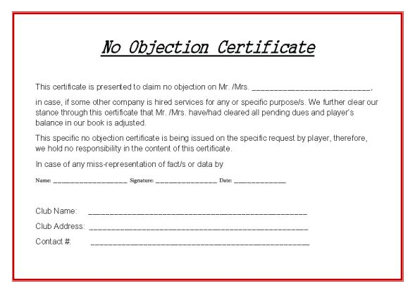 Hockey No Objection Certificate