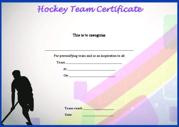 Hockey Team Certificate Template