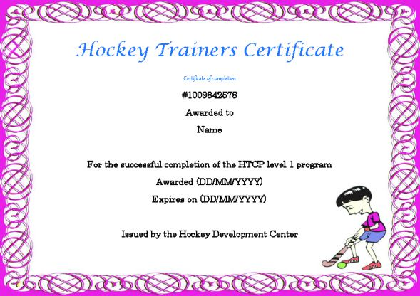 Hockey Trainers Certificate