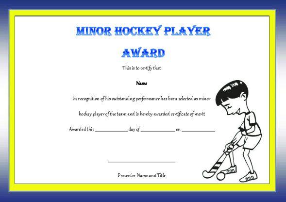 Minor Hockey Player Of The Game Award