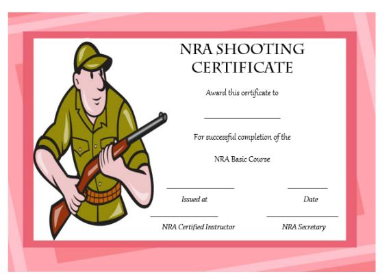 nra certificate template - 22 shooting certificate templates printable word