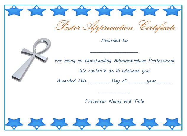 Pastor Anniversary Appreciation Certificate 1