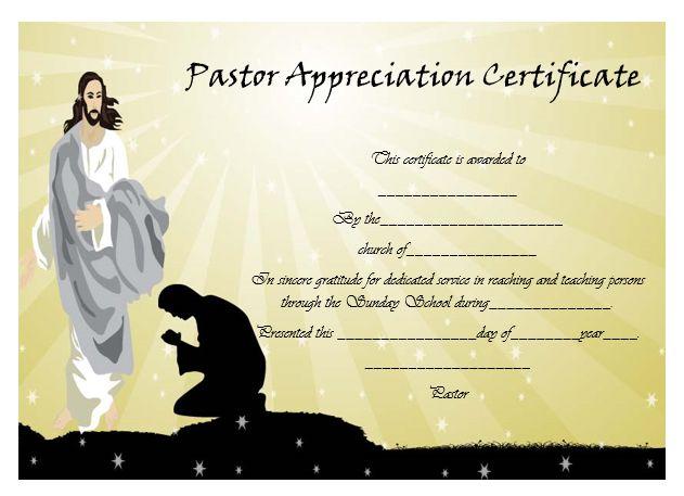pastor appreciation certificate template 28 images