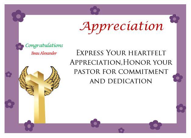 Printable Pastor Appreciation Certificate