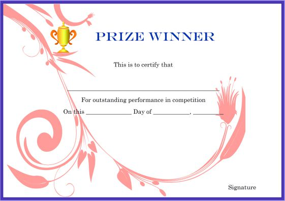 Winner Certificate Template 40 Word Templates For Competitions
