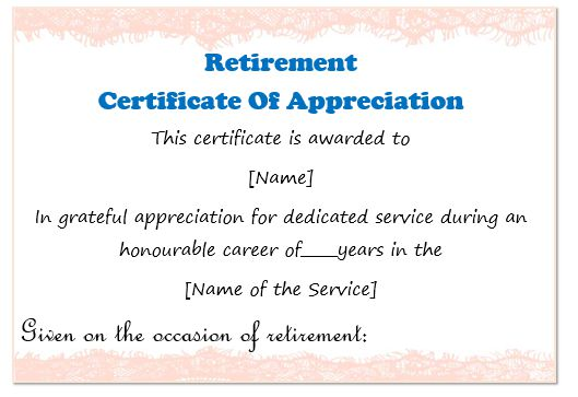 50 professional free certificate of appreciation for Retirement certificate template