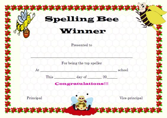 Winner certificate template 40 word templates for competitions spellingbeewinnercertificatetemplate yelopaper Choice Image