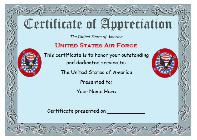 usaf certificate of appreciation template Top Result 60 Beautiful Air force Certificate Of Appreciation Template