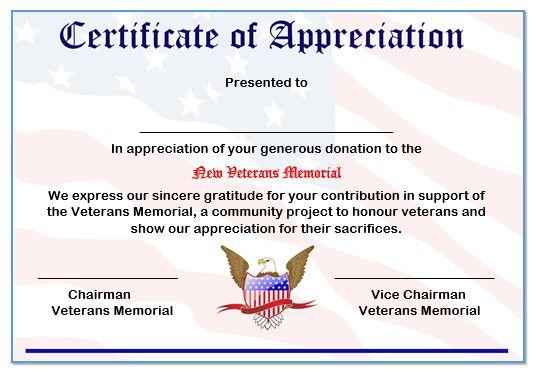 Veterans Certificate Of Appreciation Template