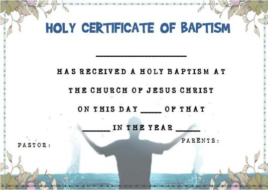 30 baptism certificate templates free samples word for Free water baptism certificate template
