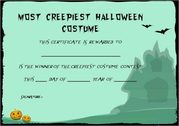 Halloween Costume Certificates With Best Designs and Halloween ...