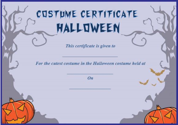 Cutest Halloween Costume Certificate Template