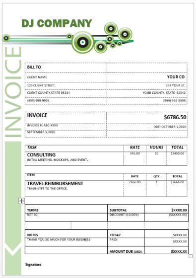 Dj Disc Jockey Invoice Template 15 Templates In Word C
