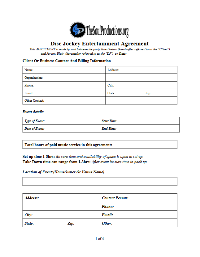 Invoice Template For Dj Services Best Professional Dj Invoice