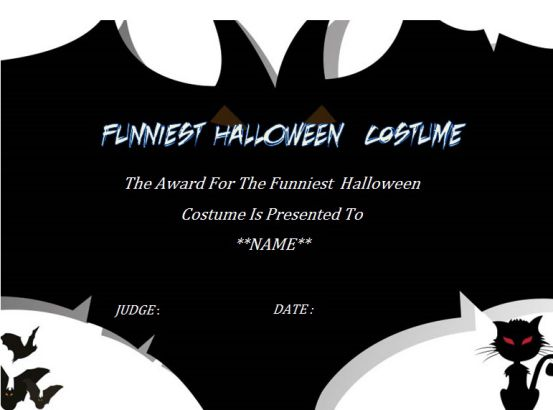 Funniest Halloween Costume Certificate Template