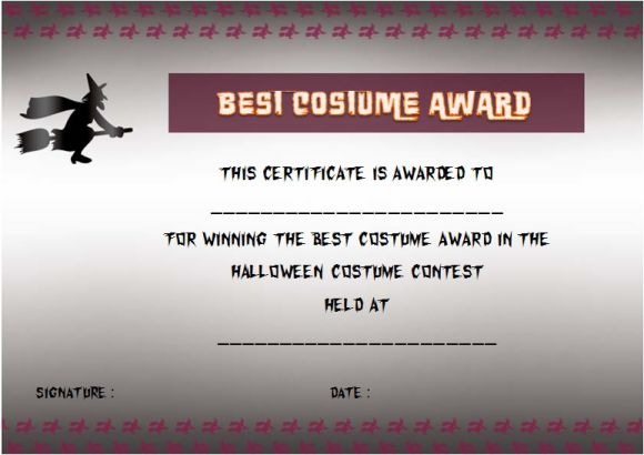 Halloween costume certificate of achievement template