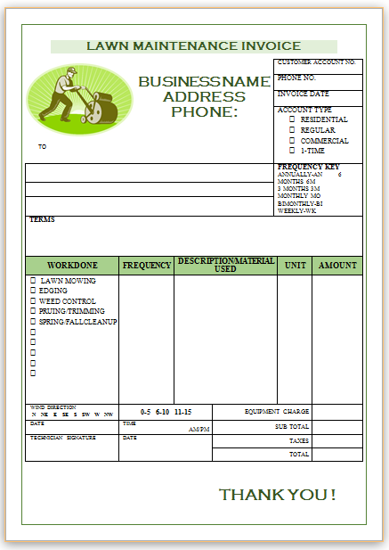 Free Landscaping Invoice Templates Professional Designs Demplates - Gardening invoice template