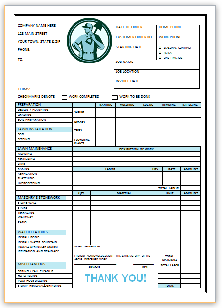Landscaping Invoice Template 3