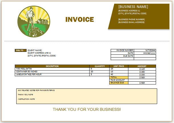 Landscaping Invoice Template 7