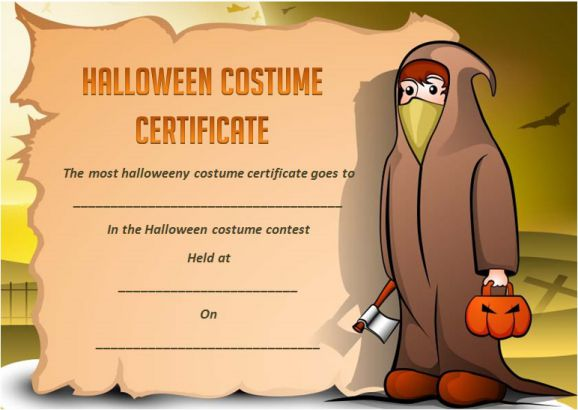 Halloween Costume Certificates With Best Designs And Halloween