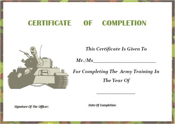 army certificate of completion template certificate of completion template 55 word templates