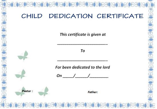 Baby Dedication Ceremony Certificate 1
