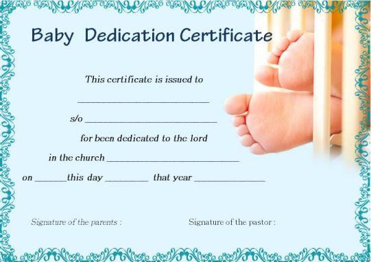 Attractive Free Baby Dedication Certificates