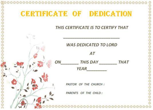Baby Dedication Certificate Word Template 1