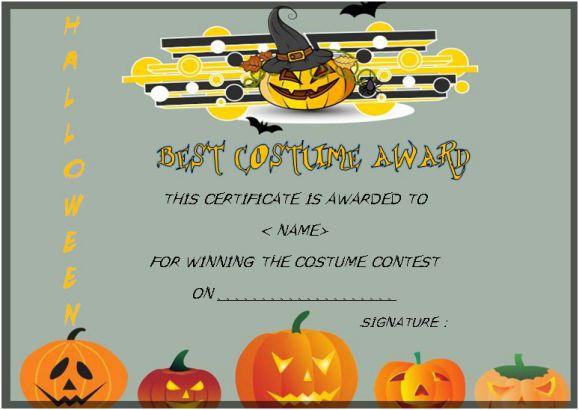 Halloween costume certificates with best designs and halloween free halloween costume certificate templates yelopaper Gallery