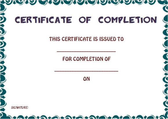 Certificate Of Completion Template 55 Word Templates