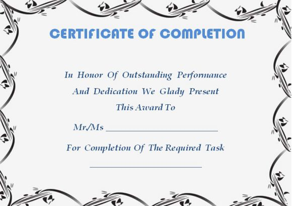 Certificate of completion template 55 word templates for Certificate of completion template word