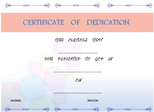 child dedication certificate sample