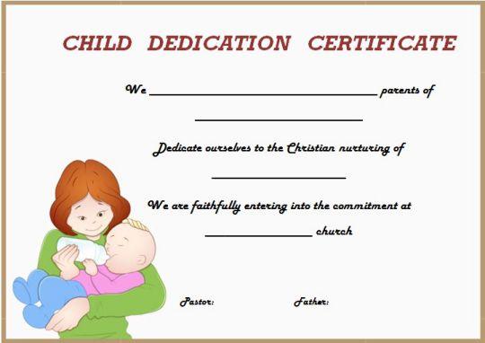 child dedication certificate sample 1