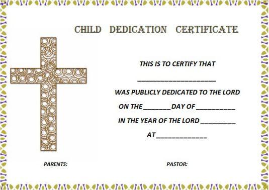 church child dedication certificate