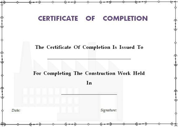 construction_certificate_of_completion_template