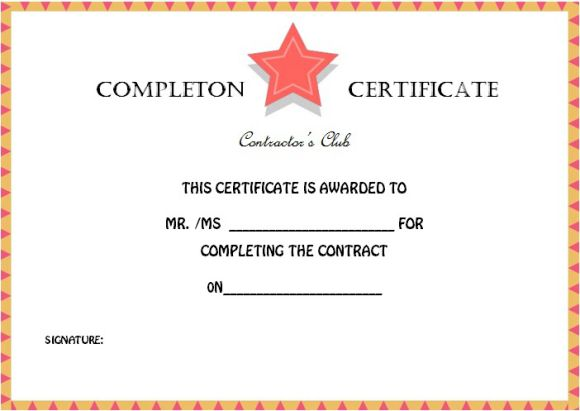 contractor_certificate_of_completion_template