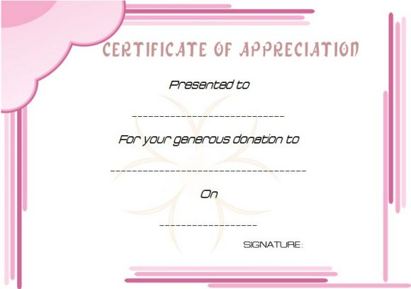 Donation Award Certificate Template