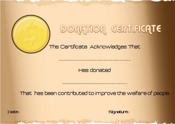 Donation Certificate Appreciation Template