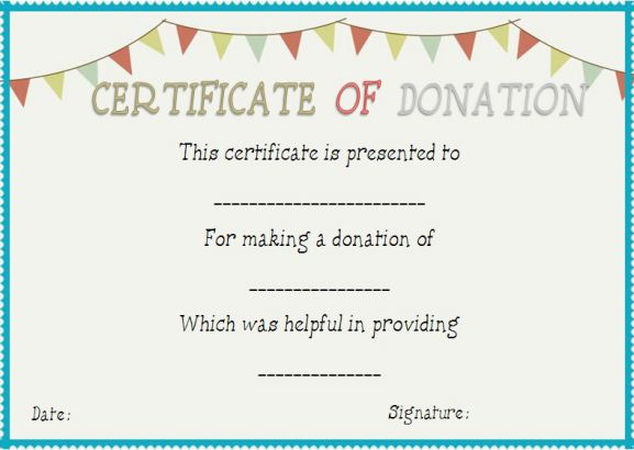 Donation In Honor Of Certificate Template